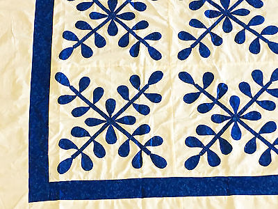 Blue and White Hand Applique floral crossing design QUILT TOP - Graphic look