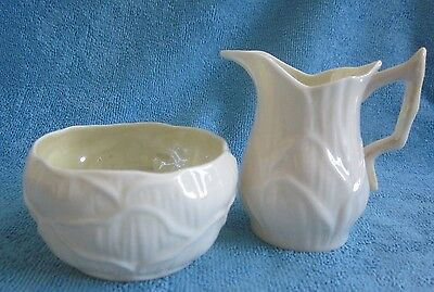 vintaged BELLEEK Ireland SUGAR BOWL & MILK JUG set LILY yellow 1960s green label
