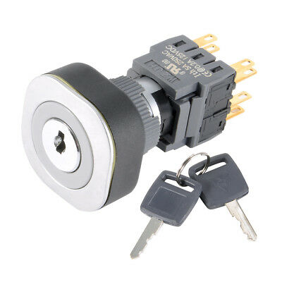 DC 125V 0.2A Latching 3 Position Rotary Selector Key Lock Switch DPDT 2NO+2NC