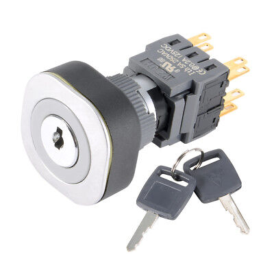 Self-locking 16mm/22mm Mounting 3P Rotary Selector Key Lock Switch 4PST 2NO+2NC