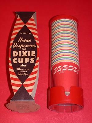 VINTAGE 1950's DIXIE CUP HOME red DISPENSER 5 oz Asst Color CUPS Old Store Stock