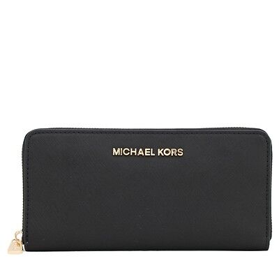 NEW! NWT MICHAEL KORS Jet Set Travel Continental Black Saffiano Leather Wallet