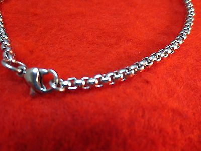 9 1/2  INCH STAINLESS STEEL SILVER 3mm ROUND BOX CHAIN ANKLET