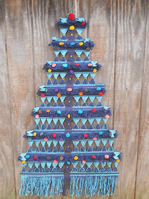 Vintage Blue/Turq String Woven Tapestry Christmas Tree Wall Hanging-Central Am ?