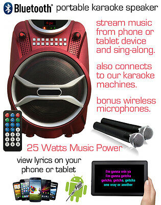 Portable Speaker With 2 Wirless Microphones; Good For Karaoke, Sprooking & More