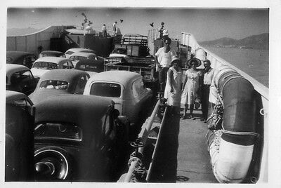 Greece Ferry Boat Full Loaded With Cars Circa 1955 Small Size Photo.