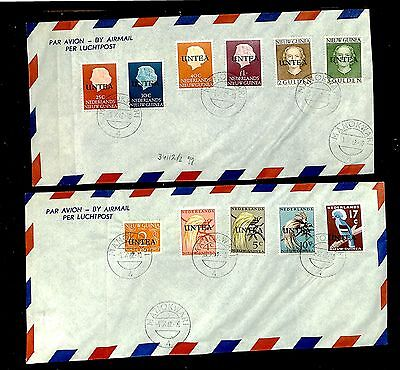 Dutch New Guinea  Nng 1962-10-1 2 Covers With Untea Stamps -Set Compl = F/vf