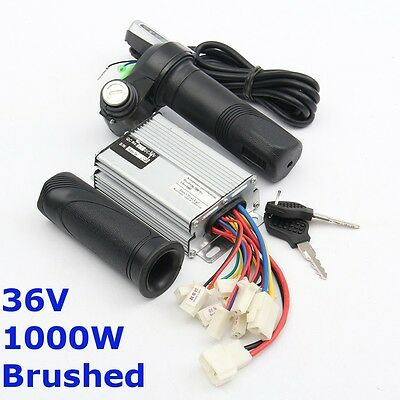 36V 1000W Motor Brush Controller +Throttle Twist Grips Electric Bike Scooter
