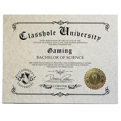 Classhole Diploma - Gaming Humor Novelty