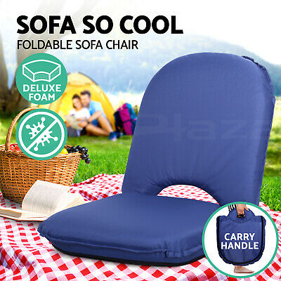 Portable Lounge Sofa Beach Chair Recliner Outdoor Floor Stool Camping Blue