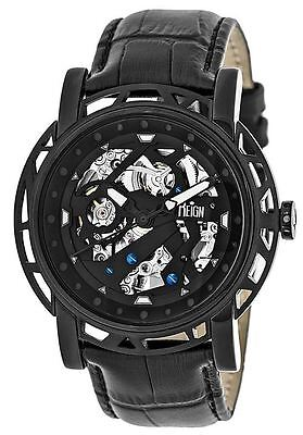Reign Mens Stavros Automatic Skeleton Dial Crocodile-Embossed Leather: REIRN3705