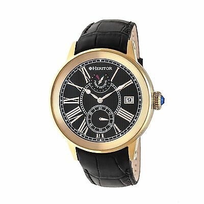 Heritor Heritor Automatic Madison Leather Strap Watch, Gold/Black, : HERHR4304