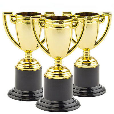 Mini Gold Plastic Trophies, Kid's Prizes, Party Bags & Rewards (Pack of 6)