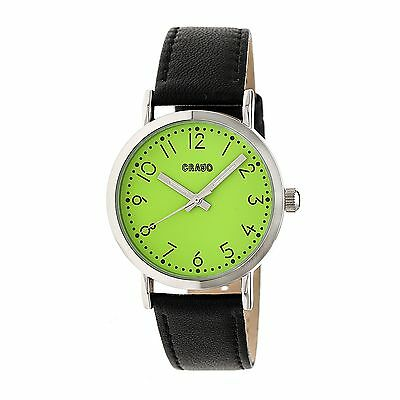 Crayo Pride Leather-Band Watch, Silver/Green, Standard, CRACR3804