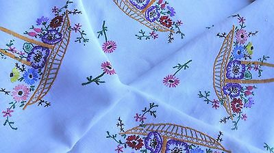 Vintage Hand Embroidered Tablecloth beautiful embroidery four large flower trugs