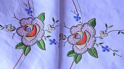 VINTAGE HAND EMBROIDERED - WHITE LINEN TABLECLOTH ~abundance of embroidery