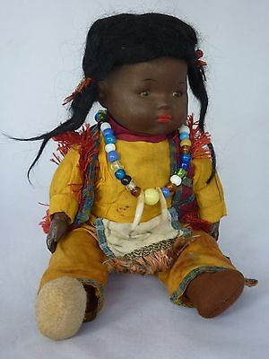 Antique Armand Marseille Cloth Black Red Indian Doll Germany Bisque Head 32Cm