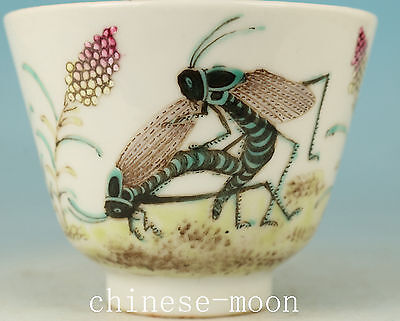 exquisite Chinese Porcelain Hand Painting Locust Statue Tea Cup Bowl