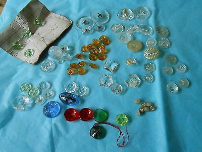 Selection Of Vintage/ Antique Glass/ Clear/Transluscent Buttons   (H)