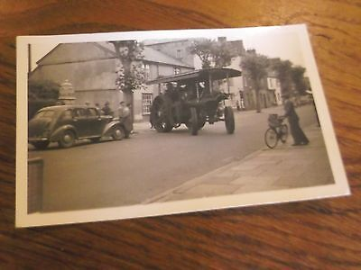 Vintage Postcard Sized Real Photo Of Steam /traction Engine Leaving Exeter 1955