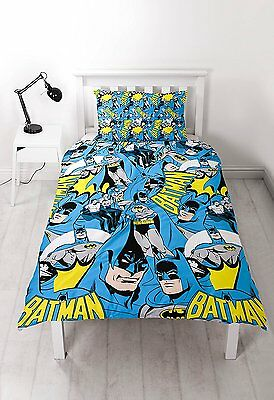 Batman Dc Hero Single/double Duvet Cover Set Boys Blue Reversible Bedding