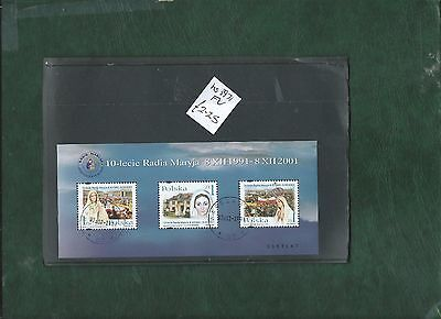 Poland Polska 2001 anniversary of Radio Maryja minisheet used
