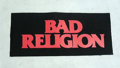 RARE Fabric CANVAS PATCH Sew On BAD RELIGION Band Red Logo P1593 20cm x 9cm