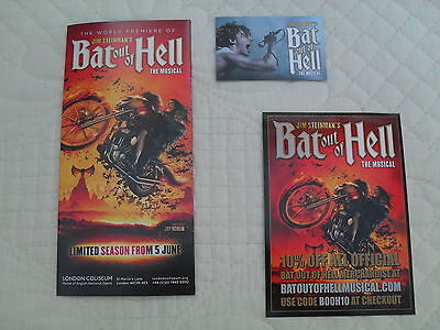 BAT OUT OF HELL - 3 different lovely colour tour flyers (MINT)  MEATLOAF musical