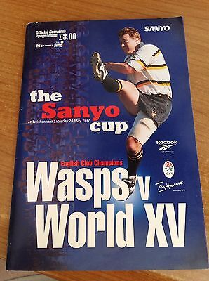 Wasps v World XV, The Sanyo Rugby Cup 24/5/97 Programme P/P pictures x 2