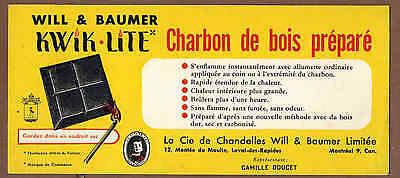 KWIK LITE CHARCOAL,  WILL & BAUMER, QUEBEC: Scarce CANADIAN Ink Blotter (1950)