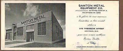 SAMTON METAL EQUIPMENT, MONTREAL, QUEBEC: Scarce CANADIAN Ink Blotter (1940)