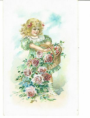 Pretty Girl With Basket Of Embossed Roses 1907 With Belgium Stamp