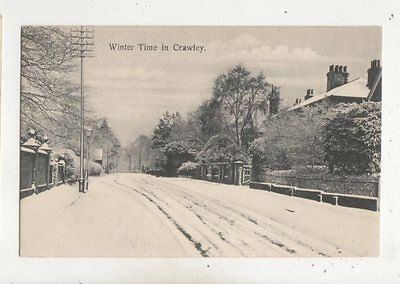 Winter Time In Crawley Sussex Vintage Postcard