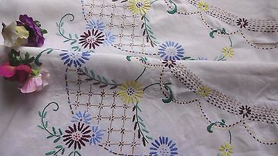 "VINTAGE HAND EMBROIDERED TABLECLOTH LARGE FLORALS beautiful embroidery 41/42""sq"