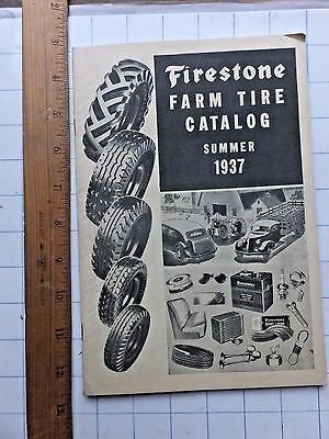 NICE 1937 Firestone Farm Tire Catalog. Also Auto Tires and Supplies. 48 pages.