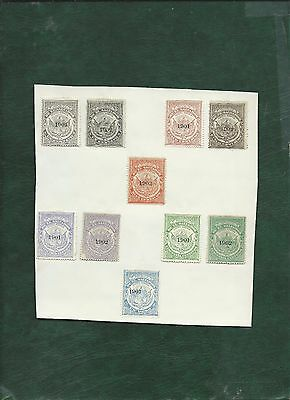 El Salvador 10 unused old stamps on page overprinted 1901 and 1902 no gum