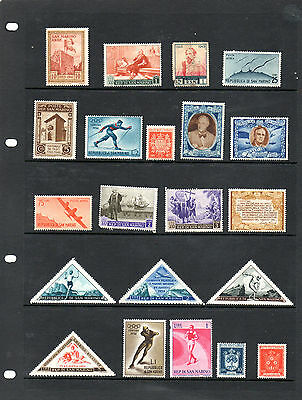 San Marino - Stock book page of mint and used stamps (2013)