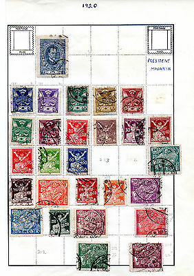 Czechoslovakia  - 1920 - page of used stamps (2051)