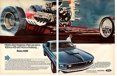 1969 Ford Mustang Boss 429 Fastback ~ Original 2-Page Muscle Car Ad