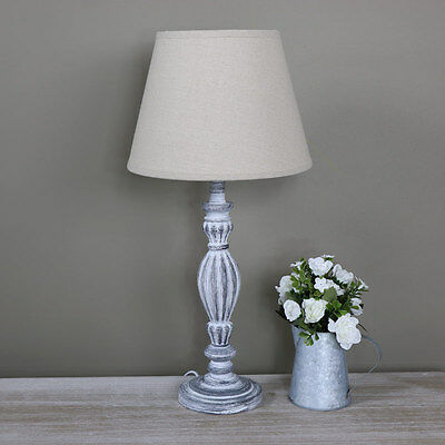 grey wooden bedside table lamp shabby vintage chic cottage