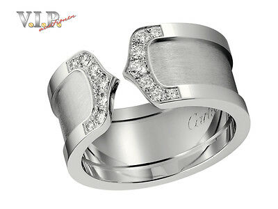 Cartier Ring Doppel-C-Logo Bague Weissgold & Diamanten 18K White Gold & Diamonds
