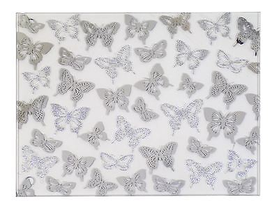 GLASS BUTTERFLY MIRRORED GLITTER PACK OF TWO PLACEMATS 10CM x 10CM