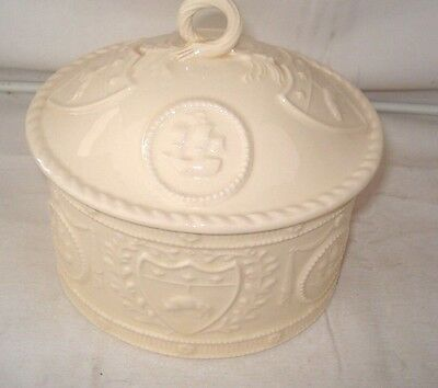 "Royal Creamware 6"" Occasions Oval Tobacco Jar & Lid"