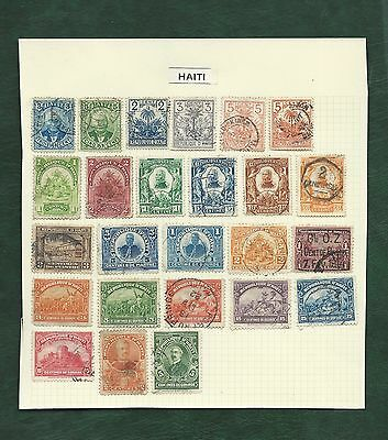 Haiti 25 old used stamps on album page