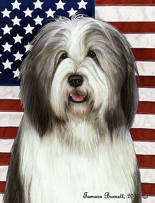 Large Indoor/Outdoor Patriotic II Flag - Blue & White Bearded Collie 32170
