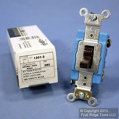 Leviton Brown INDUSTRIAL Grade Single Pole Toggle Wall Light Switch 15A 1201-2