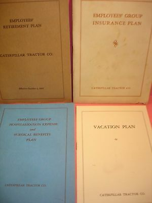 Lot of 4 1940's Caterpillar Tractor Co. Employee Benefits Booklets