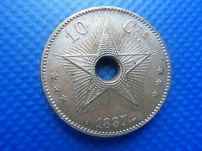 1887 10 Centimes Coin  Belgium. Congo Free State. V.f.