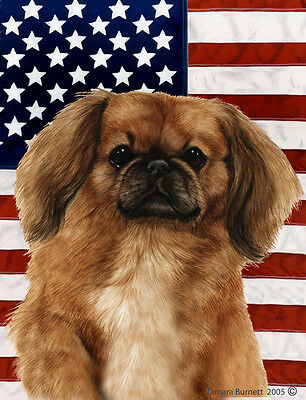 Large Indoor/Outdoor Patriotic II Flag - Fawn Pekingese 32042