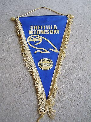 Circa 1980's Sheffield Wednesday souvenir pennant with faded signatures